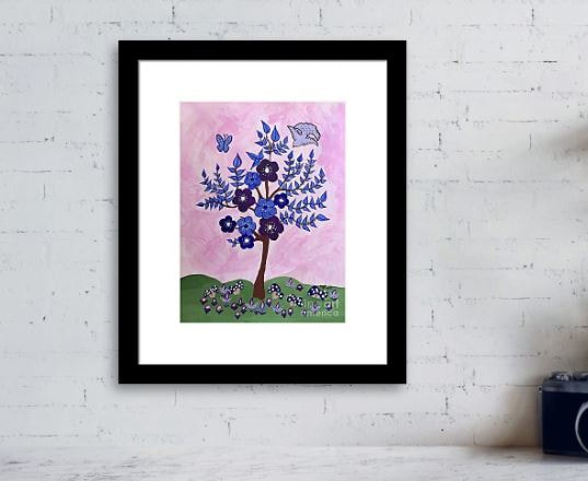 Black frame with White Mat nursery art print an abstract tree with blue leaves and purple flowers for nursery