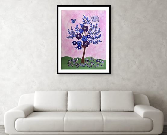 Art Print of abstract tree with blue leaves and purple flowers for a nursery in a black frame