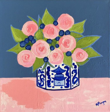 Original Painting, Chinoiserie Vase with abstract flowers and a blue background