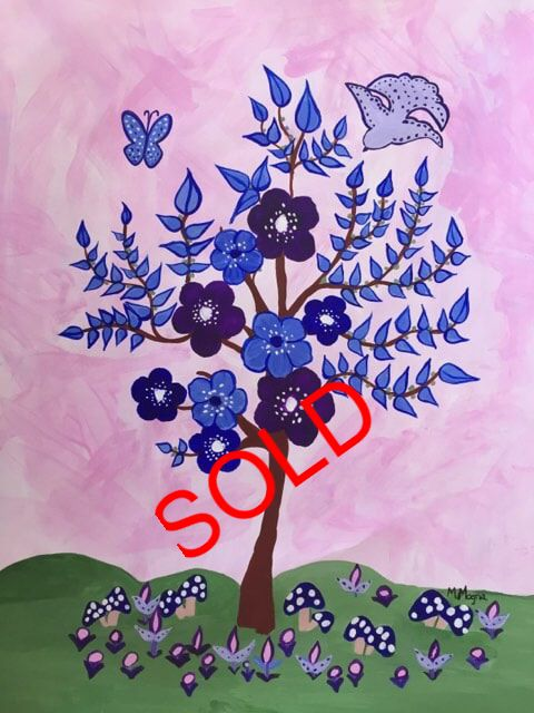 Blue abstract tree with purple flowers a pink background and green grass for nursery