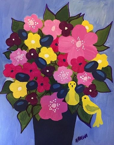 a bouquet of flowers in a blue vase with light blue background and pink and blue flowers and two yellow birds