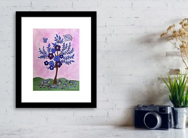 Framed Abstract tree with pink background and black frame with mat